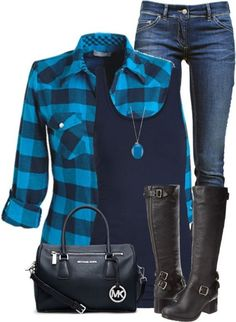 Casual Blue Plaid Shirt Fall Outfit - Fall Shirts - Ideas of Fall Shirts - I adore every single piece. The blue plaid button up the black tank the jeans the blue necklace the black boots. Komplette Outfits, Casual Outfits, Fashion Outfits, Womens Fashion, Woman Outfits, Plaid Outfits, Grunge Outfits, Weird Outfits, Outfit Jeans