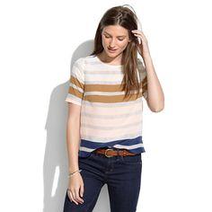 Fun autumnal take on stripes in silk?  Yes please.  Madewell - Hazestripe Top.  #silk #fall