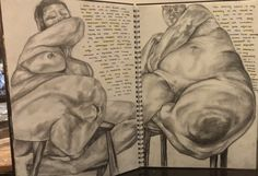 Art gcse alevel sketchbook A* A for sketchbook layout ideas Jenny Saville pencil sketch obsess fat woman body figure life drawing portrait