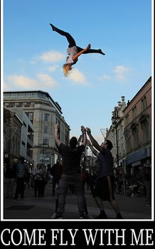 The Aviator Allstars doing a cheerleading Pike split basket toss in the middle of Briggate, Leeds, Basket Toss, Cheerleading Cheers, Come Fly With Me, Business, Store, Business Illustration