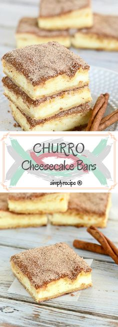 Churro cheesecake bars are sure to become a favorite treat! An easy and delectable dessert recipe! #churrocheesecakebars #churrocheesecake #churro #cheesecakebars