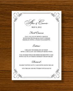 INSTANT DOWNLOAD  Wedding Menu Template  Forever Design by 43Lucy, $9.95