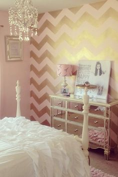 Pink and gold bedroom pink and gold bedroom pink and gold bedroom decor blush pink rose . pink and gold bedroom Bedroom Furniture, Bedroom Decor, Bedroom Ideas, Bedroom Colors, Furniture Stencil, Wall Decor, Decor Room, Painting Furniture, Accent Wall Bedroom