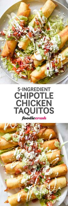 Chipotle in adobo sauce flavors shredded chicken breast that when fried or baked in your favorite tortilla, creates an easy, crispy appetizer or main dish   foodiecrush.com
