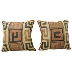 Pair of African Kuba Pillows