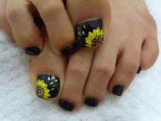 Image detail for -Sun Flowers Style on black Toe Nails Art Design   Nail Art Designs
