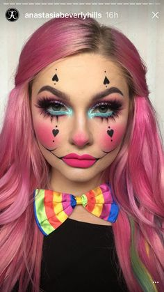 Spooky Clown Halloween Makeup Looks, Styles & Ideas 2019 - Idea Halloween Cute Clown Makeup, Halloween Makeup Clown, Halloween Makeup Looks, Up Halloween, Cute Clown Costume, Clown Costume Women, Pop Art Costume, Halloween Costumes, Hallowen Schminke