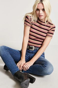Product Name:Striped Mock Neck Top, Category:sweater, Price:17.9