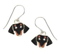 Black & Tan Dachshund Face Enamel & Silver Dangle Earrings AJ, http://www.amazon.com/dp/B008GTHBBI/ref=cm_sw_r_pi_dp_kk1.pb1Z87JMX