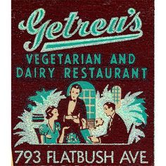 Vegetarian Restaurant Matchbook Print Brooklyn New York 1930s, Home Decor, Great Kitchen Wall Decor or Gift for Vegetarians.
