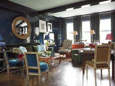 Miles Redd navy living room