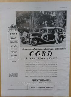 Art Deco Vintage French Ad  Cord Automobile 1930 by reveriefrance