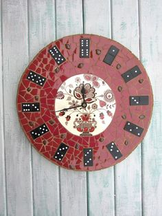 Domino Clock ~ Mosaic Clock ~ Marsala ~ Kitchen Clock ~ Recycled Materials ~ Quirky Home Decor ~ Unique Wall Clock ~ Unusual Wall Clock by RecycleMeMosaics on Etsy
