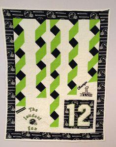 """Loudest Fan"" Seattle Seahawks crib size quilt with Confetti streamers"