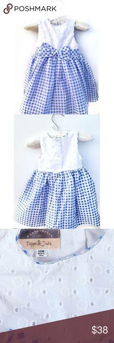 Pippa & Julie Dress Colore:Light blue and white White embroidered botanist Light blue full skir Size: 12 months Gingham New/Never worn Pippa & Julie Dresses Formal