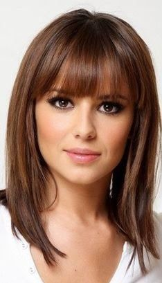 Medium Length Hairstyles with Bangs for Fine Hair Beauty Hair styles, Bangs with medium hair Bangs With Medium Hair, Medium Long Hair, Medium Hair Styles, Curly Hair Styles, Curly Bangs, Hair Bangs, Shoulder Length Hair With Bangs, Blunt Bangs, Layered Haircuts Shoulder Length