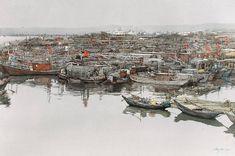 王巍 / Wang Wei (China) the Assembly.  watercolour. 70 × 100 cm.