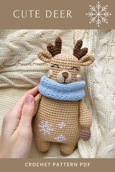 Crochet Doll Pattern, Crochet Patterns Amigurumi, Crochet Dolls, Amigurumi Toys, Crochet Deer, Crochet Animals, Crochet Baby, Free Crochet, Handmade Toys