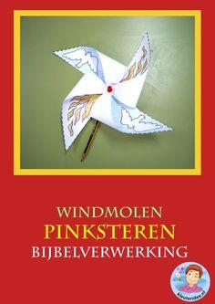 Pinksteren, windmolen, knutselen verwerking, kindergarten pentecost craft, free printable, kleuteridee.nl