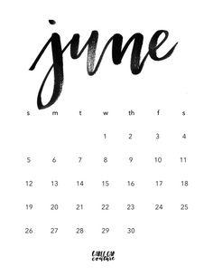 June Brush Calligraphy Calendar 2016