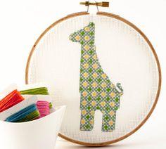 Cross Stitch Pattern PDF - Giraffe in green, blue, and yellow