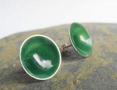 Sterling silver stud earrings with emerald green enamel