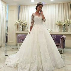 2016 Spring Vintage Beaded Lace Plus Size Wedding Dresses With Illusion Half Sleeves Sheer Neckline Ivory Tulle Bridal Gowns With Buttons Bride Gown Chinese Wedding Dresses From Flodo, $167.54| Dhgate.Com