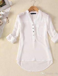 Womens Spring Summer V-neck Chiffon Long Sleeve Casual elegant Shirt Blouse Tops Chiffon Shirt, Chiffon Tops, White Chiffon, Sheer Chiffon, White Cotton, Blouse Styles, Blouse Designs, Chemises Sexy, Shirt Bluse