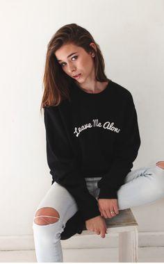 "- Description Details: 'Leave Me Alone' oversized fleece sweatshirt in black. Brand: NYCT Clothing. Unisex, oversized/loose fit. Measurements: (Size Guide) XS/S: 38"" bust, 27"" length, 25"" sleeve lengt"