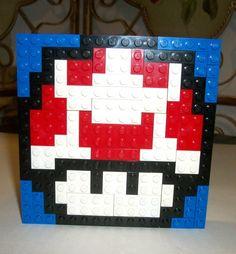 $22 #EASTER #MARIO #NINTENDO LEGO Custom Mario Mushroom Kids Room Decor Blue Plates Bricks Nintendo N64 lot  #LEGO