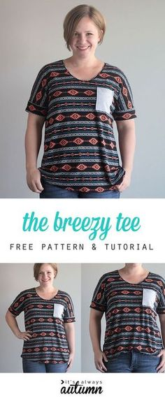 free pattern and sewing tutorial for this cute, easy to sew, DIY tee.