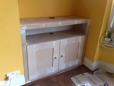 Custom made alcove TV cupboard Wire Storage Shelves, Alcove Storage, Alcove Shelving, Dvd Storage, Storage Baskets, Kitchen Storage, Storage Ideas, Alcove Ideas Living Room, Living Room Shelves