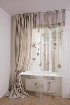 SHEER ORGANZA curtains decorated with embroidered lotus flowers , luxury sheer polyester curtain, embroidered curtains Living Room Decor Curtains, Home Curtains, Curtains With Blinds, Bedroom Decor For Couples, Bedroom Themes, Interior Work, Apartment Interior, Sheer Linen Curtains, Rideaux Design