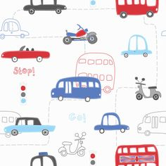 Hoopla Rush Hour Wallpaper has a cool transport theme featuring cars, buses and motorbikes. Matching border available + FREE P+P. Boys Wallpaper, Wallpaper Roll, Pattern Wallpaper, Playroom Wallpaper, White Wallpaper, Childrens Bedroom Accessories, Cool Sports Cars, Busse, Car Wallpapers