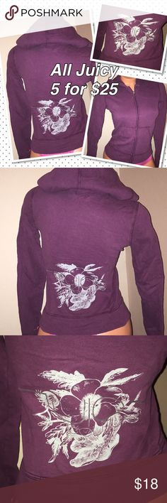 """Juicy Couture Jacket hoodie PXS Petite 💟 buy this one individually or 5 for $25 Brand: Juicy Couture  jacket - back graphics maroon wine color tag lists this as a Sz.    Petite Xs- this brand tends to run small so Please reference to your measurements, for a good fit.  Underarm to underarm: 15"""" Length back of neck to hem: 19""""  ✅Condition:  Pre loved good condition -average wash/wear Smoke/Pet free Bx 3 ⚠️no holds, no Trades ⚠️I don't negotiate in comments ⚠️please use the offer button Juicy…"""