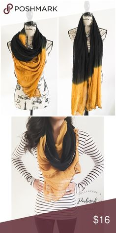 """Black & Gold Ombré Scarf This scarf has a beautiful blank & gold Ombré on the light fabric with a gold & copper striped ribbon outlining the edges. {actual color of item may vary slightly from pics}  *length:(about)81""""  *width:(about)37""""  *material/care:feels like a raw silk, no tag  *condition:pre-loved, but good no rips/stains   🌸20% off bundles of 3/more items 🌸No Trades  🌸NO HOLDS 🌸No transactions outside Poshmark  🌸No lowball offers Accessories Scarves & Wraps"""
