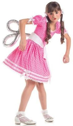 This costume includes a puff sleeve polka dot dress with ribbon and bow details, and wind up belt. Does not include petticoat, hair ribbons, socks, or shoes.