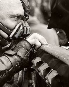 Bane + Batman - The Dark Knight Rises directed by Christopher Nolan (2012) #christianbale #tomhardy #christophernolan