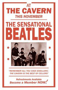 The Beatles - The Cavern - Mini Print Beatles Poster, Les Beatles, Pop Rock, Rock And Roll, Motif Music, Football Music, Beatles Party, Music Genius, Vintage Concert Posters