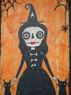 202ea1d293d Halloween witch painting sugar skull cats ooak by on Etsy
