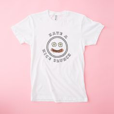 STYLE: NICE BRUNCH - Description - WHAT'S MY SIZE? an ode to our obsession with happy faces, bacon, eggs, and brunch. what else is there in life, really? don't answer that question. featuring artwork