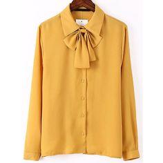 Tie Collar Yellow Shirt (1.045 RUB) ❤ liked on Polyvore featuring tops, shirts, yellow, yellow top, slim fit long sleeve shirts, chiffon shirt, slim shirt and long sleeve collared shirts