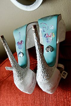 """We will always say """"I do"""" to glitter bridal shoes with a touch of Minnie Mouse"""