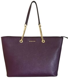 bc970277f0ee Michael Kors Chain Tote Damson Purple Travel Purse Gold Leather Handbag for  sale online | eBay