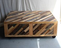 Reclaimed Chevron Pallet and Barn Wood Coffee Table with Storage on Casters Modern Rustic - - Perseids Pattern