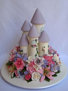 Enchanted Castle Cake ~ so pretty! Wilton Cakes, Cupcake Cakes, Cupcakes, Beautiful Cakes, Amazing Cakes, Tall Cakes, Fancy Cakes, Crazy Cakes, Little Girl Birthday