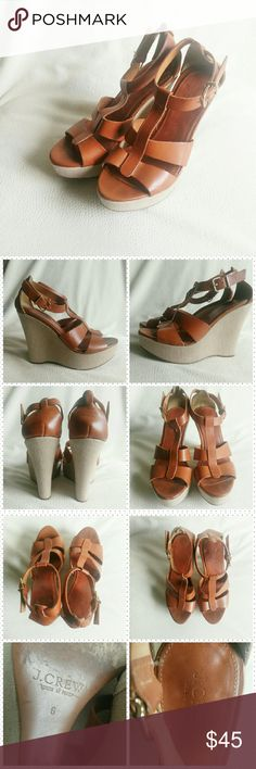 """J. Crew Palma wedges *Price Negotiable  *No Trades  A staple in every woman's shoe collection! Wedges are super comfortable & give you height without compromising balance when walking. These platform wedges from J. Crew (Style is Palma) are in great shape! Medium brown leather straps with a tan linen wrapped around the wedges. VGUC  Heel height 4.5"""" Platform 1""""  {10% off bundles of 2+ listings} J. Crew Shoes Wedges"""