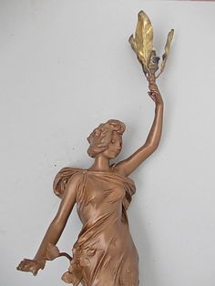 Art Nouveau Lighting,`Automne` signed Julien Causse,  , h- 74 cm. Original paint, good condition