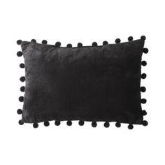 """Room Essentials® Pom Pom Decorative Pillow - Black (14x20"""")"""