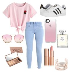 """how to wear outfits for school"" by ayatirfan ❤ liked on Polyvore featuring WithChic, adidas, Quay, Casetify, Alexis Bittar, Chanel and Urban Decay"